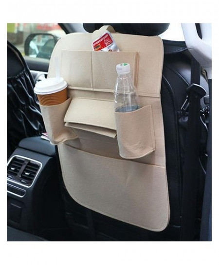 Beige Car Back Seat Storage Organizer Trash Net Holder Multi-Pocket Travel Storage Bag Hanger