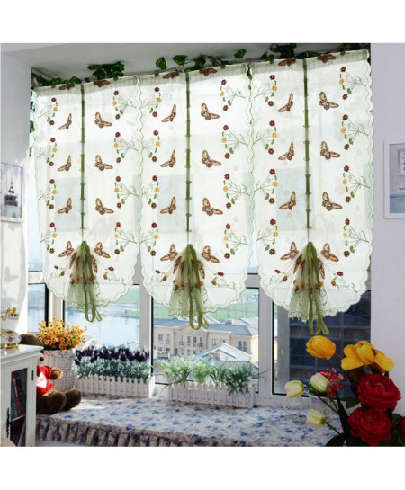 Screening Butterfly Pastoral Tulle Window Roman Curtain Embroidered Sheer Window Curtain