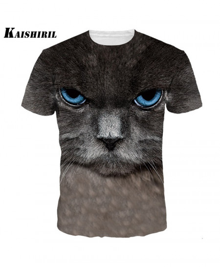 Cat 3D Printed Short Sleeves T-Shirt