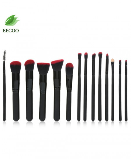 EECOO Profession 14 Black Makeup Brushes Set AT-8791