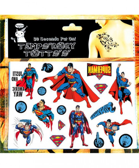 Pack of 3 Superman Temporary Tattoo Face Stickers