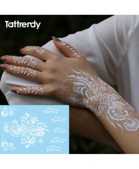 White Henna Flash Tattoo AT-458