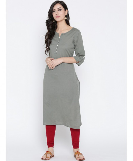 Silver Grey Buttoned A Line Style Ladies Kurti FLK-301