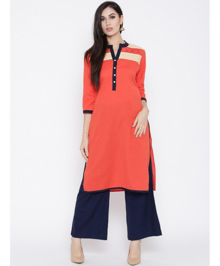 Scarlet Contrast Neck A Line Style Ladies Kurti FLK-305