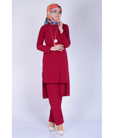 Chilli Red Short Style 2Piece Linen Suit FLK-311
