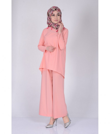 Peach Short Tunic Style 2Piece Linen Suit FLK-322