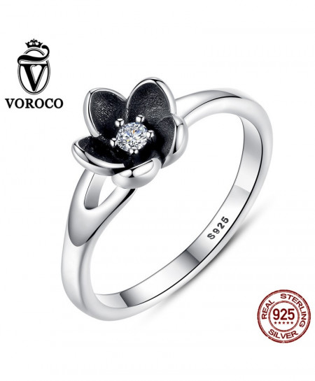 VOROCO Mystic Floral Flower Silver Black Ring AT-631