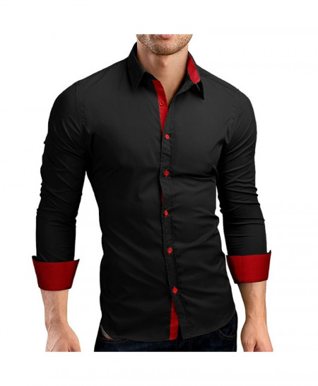 QINGYU Black Slim Fit Casual Shirts AT-682