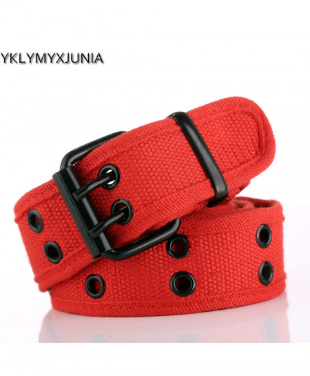 Red Canvas Double Pin Buckle Belt AT-190