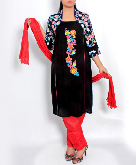 Black Embroidered Stylish Design Ladeis suit AKG-095