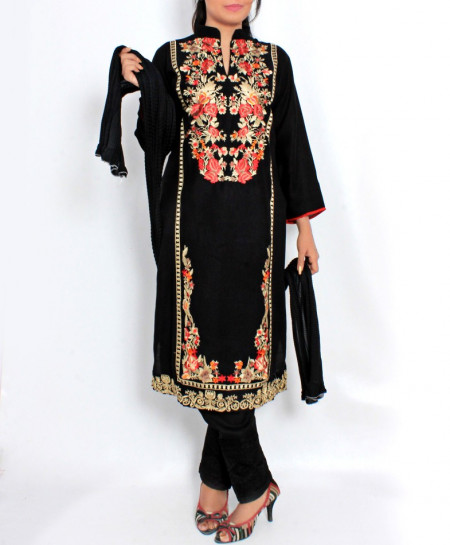 Black Embroidered Stylish Design Ladeis suit AKG-097