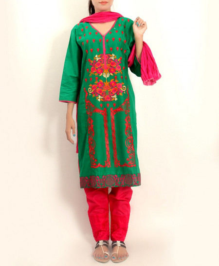 Green Embroidered Stylish Design Ladeis suit AKG-098