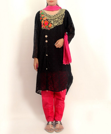 Black Embroidered Stylish Design Ladeis suit AKG-101