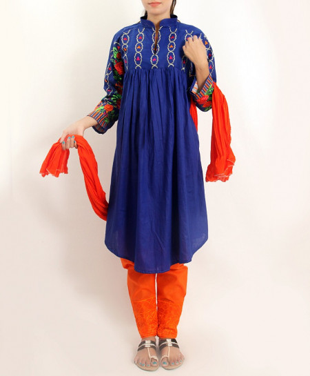 D Blue Embroidered Stylish Design Ladeis suit AKG-103