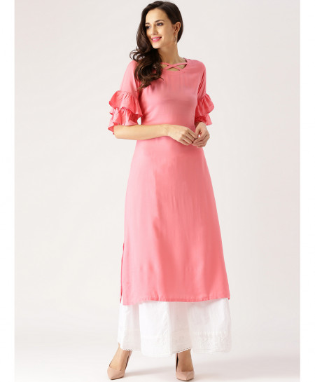 Pink Rose Sleeves A Line Style Linen Kurti FLK-337