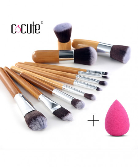 Cocute 11 Pcs Bamboo Handle Makeup Eyeshadow