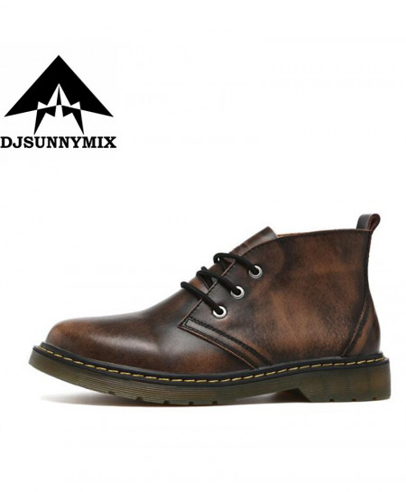 DJSUNNYMIX Brown Cow Hide Leather Martin Boots AR-936