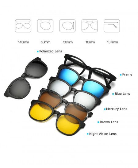 5 Pieces Clip On Polarized Magnetic Glasses AR-C06