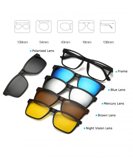 5 Pieces Clip On Polarized Magnetic Glasses AR-C05