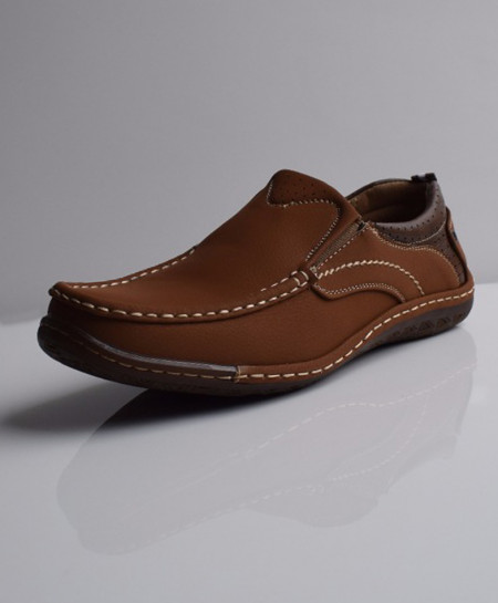 Brown Solid Stitched Design Slip On Shoes DR-189
