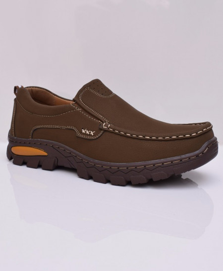 Choco Brown Solid Stitched Design Slip On Shoes DR-190