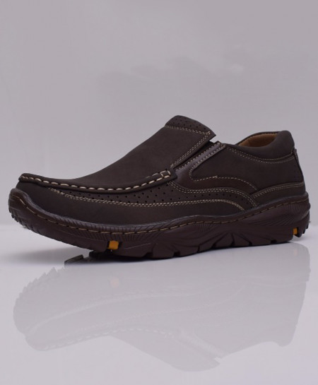 Choco Brown Dotted Stitched Design Slip On Shoes DR-192