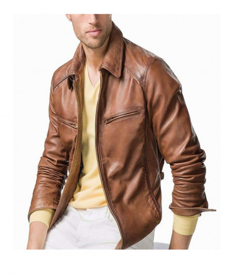 Brown Sheep Leather Jacket For Men R1 SLL-06