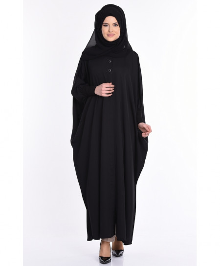 Black Butterfly Coat Style Ladies Abaya FLK-342