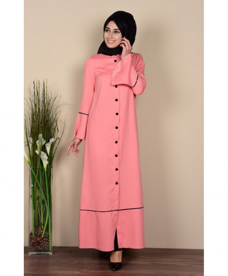 Pink Tipping Coat Style Ladies Abaya FLK-343