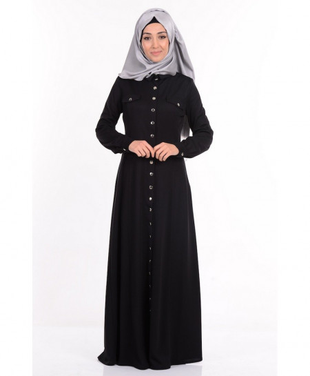 Black Button Coat Style Ladies Abaya FLK-346