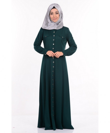 Teal Green Button Coat Style Ladies Abaya FLK-347