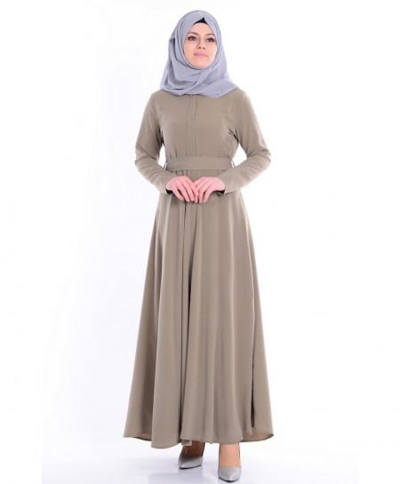 Sandy Grey Slimfit Belt Style Ladies Abaya FLK-350
