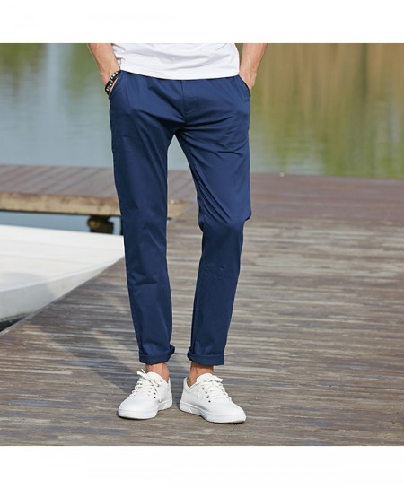 Pioneer Camp Dark Blue Long Stretchable Chino Pants