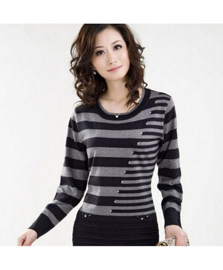 Stripe Long Pullovers Women Sweater AT-680