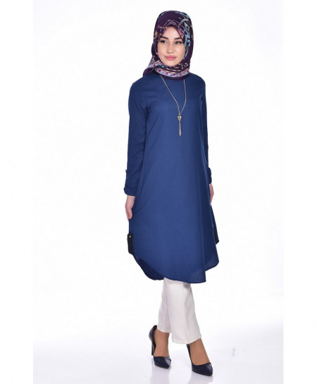 Ink Blue Loop Button Tunic Style Short Kurti FLK-353