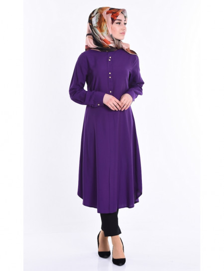 Purple Button Neck Tunic Style Short Kurti FLK-354
