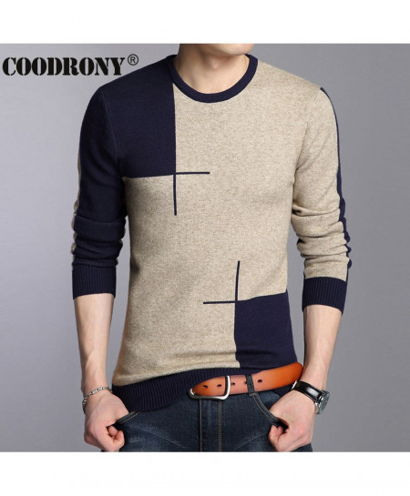 COODRONY Gray Navy Round Neck Panel Sweaters AT-880