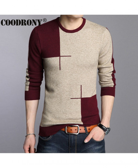 COODRONY Gray Maroon Round Neck Panel Sweaters AT-881