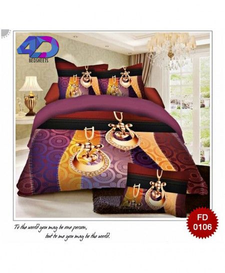 4D Indigo Lilac Cotton Satin Bedsheet RB-0106
