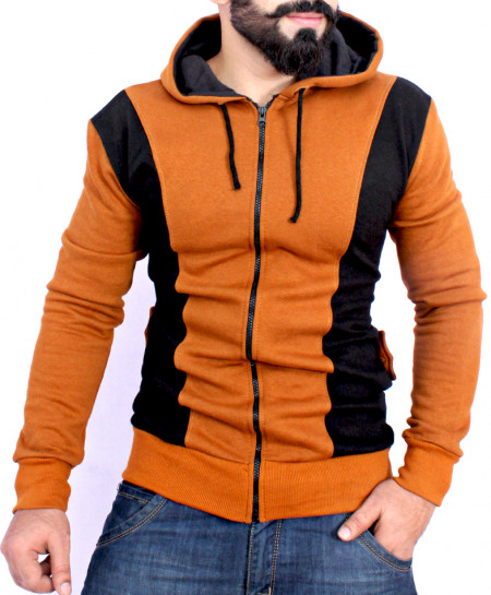 Brown Black Panel Contrast Zipper Fleece Hoodie FS-2567