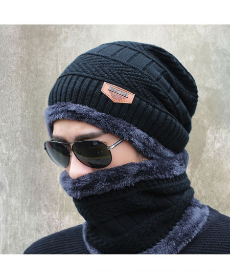 Buy Black Beanies Knit Winter Caps with Collar online in Pakistan ... 64f28115c14