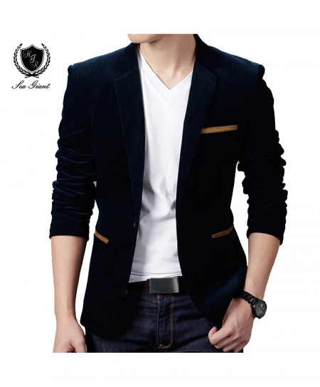 Black British Style Casual Slim Fit Blazer