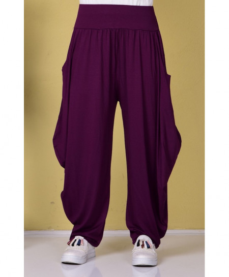 Indigo Purple Cell Pocket Style Linen Shalwar FLK-361