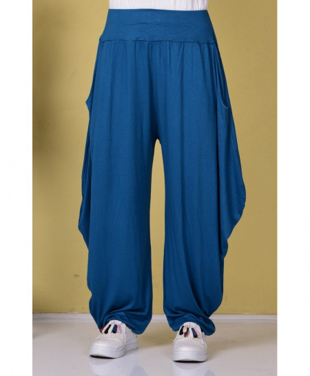 Slate Blue Cell Pocket Style Linen Shalwar FLK-362