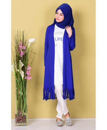 Royal Blue Rough Border Style Ladies Cardigan ARF-713