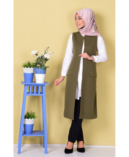 Olive Green Vest Pocket Style Ladies Terry Coat FS-494