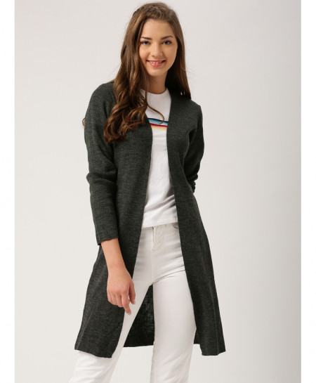 Charcoal Round Neck Style Ladies Cardigan ARF-726