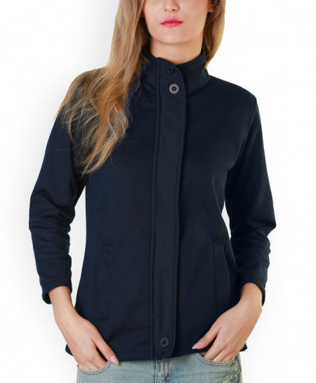 Navy Blue Bon Pocket Fleece Mock Coat ARF-729