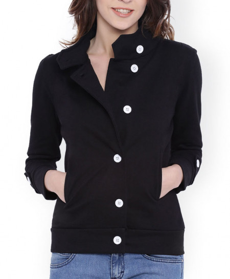 Black Contrast Button Fleece Mock Coat ARF-734