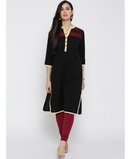 Black Contrast Neck A Line Style Ladies Kurti ALK-815